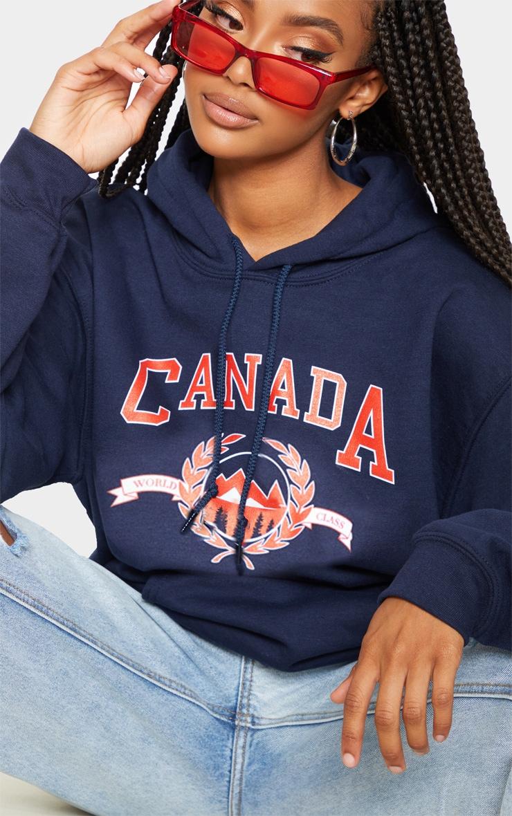 Hoodie bleu marine à slogan Canada 4