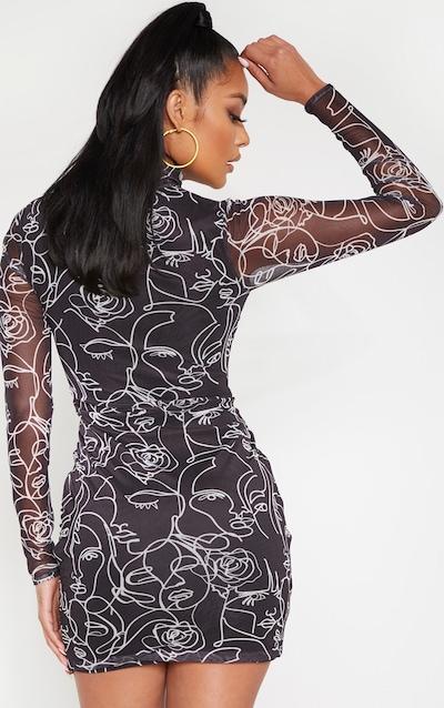 Black Abstract Face Print Mesh High Neck Bodycon Dress