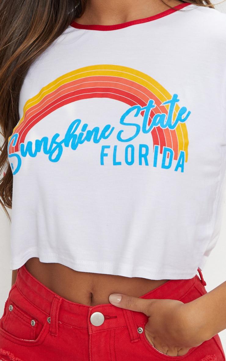White Sunshine State Printed Crop T Shirt 5