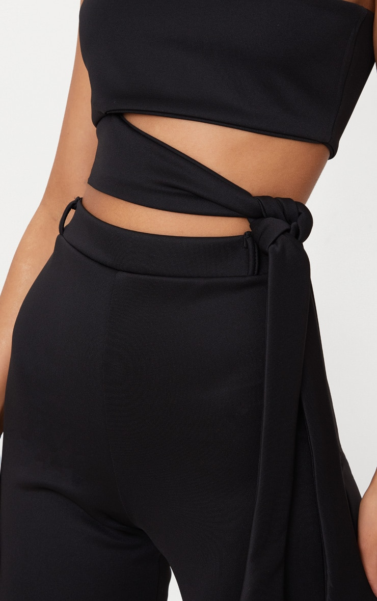 Black One Shoulder Tie Detail Crop Top 4
