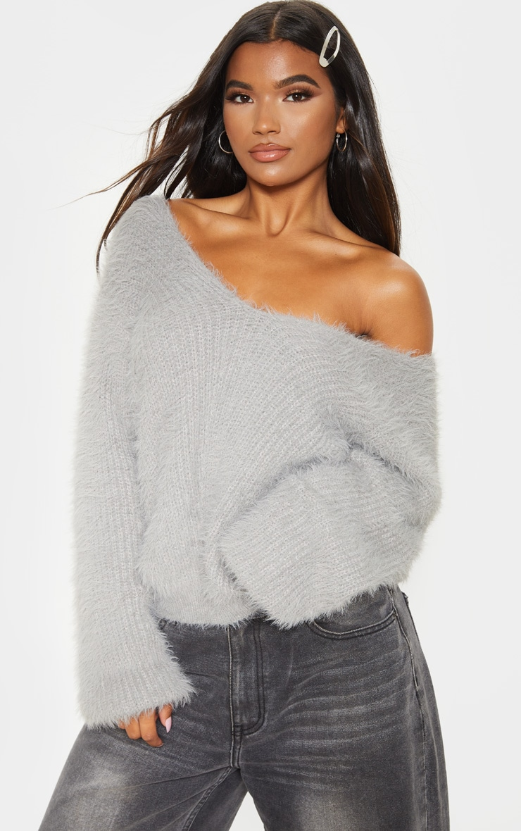 Grey Eyelash Knitted Sweater 1