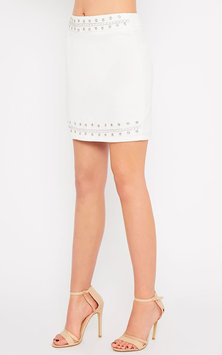 Evelyn White Chain Trim Mini Skirt -XS 4
