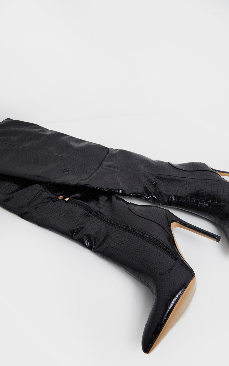 Black Croc Knee High Boot 4