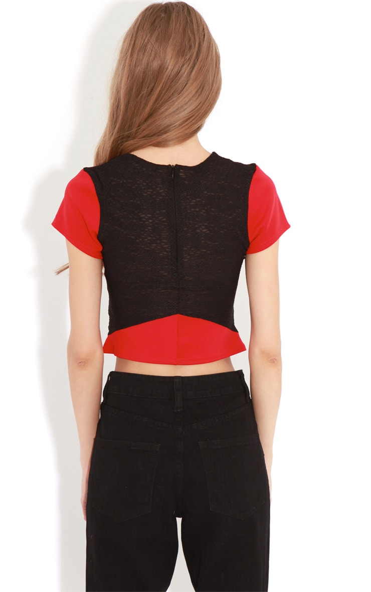 Nova Red And Black Mesh Panel Crop Top 2