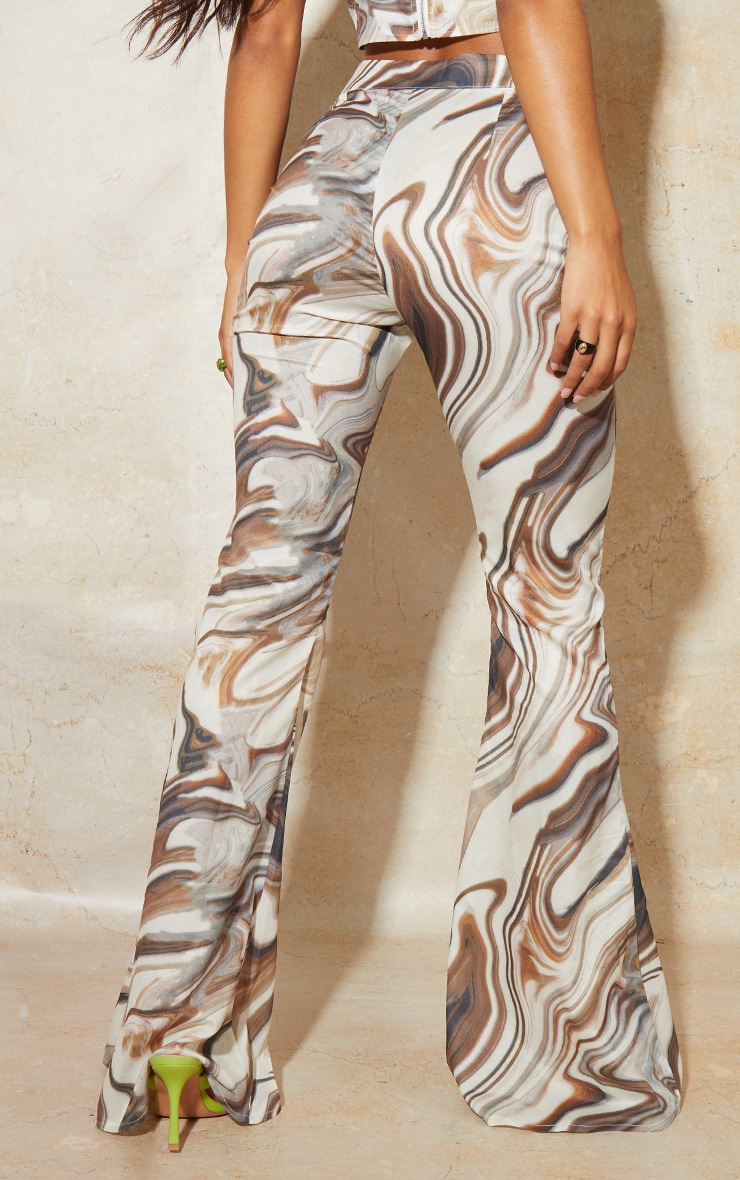 Brown Marble Print Woven High Waisted Flare Trousers 3