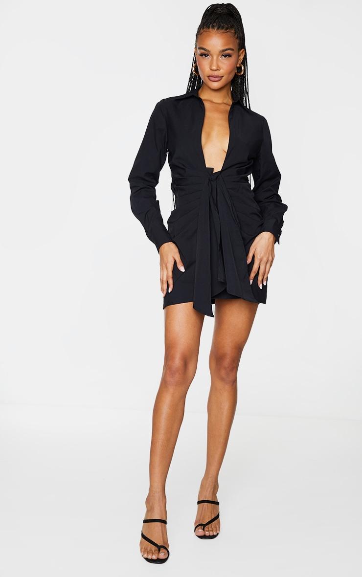 Black Plunge Drape Detail Ruched Shirt Dress 3