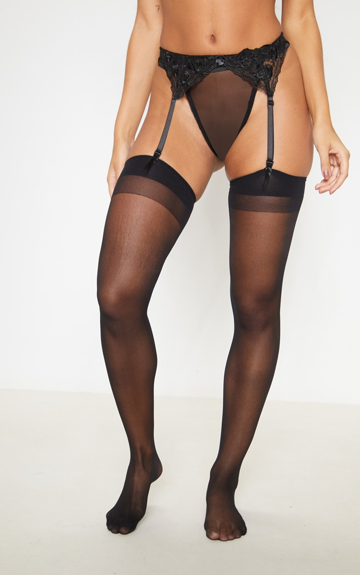 Black Sheer Hold Up Stockings 2