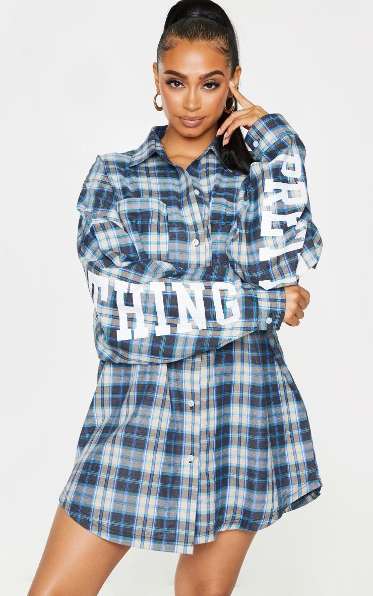 PRETTYLITTLETHING Navy Check Print Slogan Shirt Dress  1
