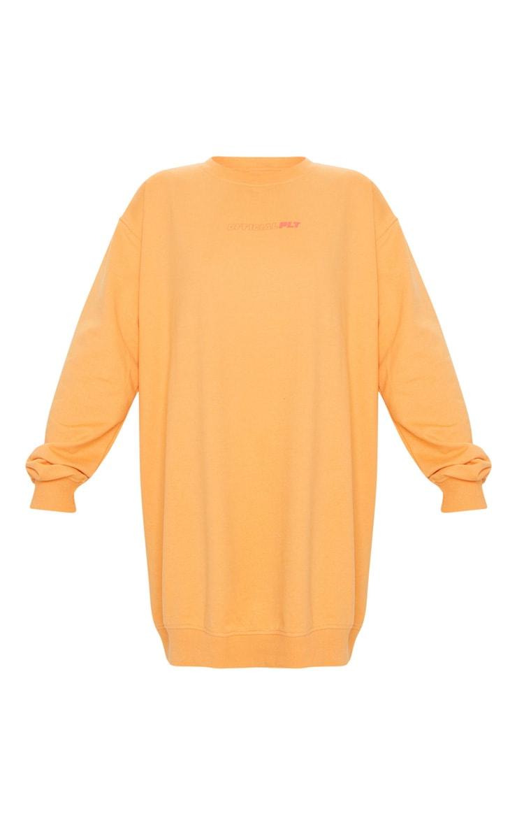 PRETTYLITTLETHING Orange Official Slogan Back Print Long Sleeve Jumper Dress 5