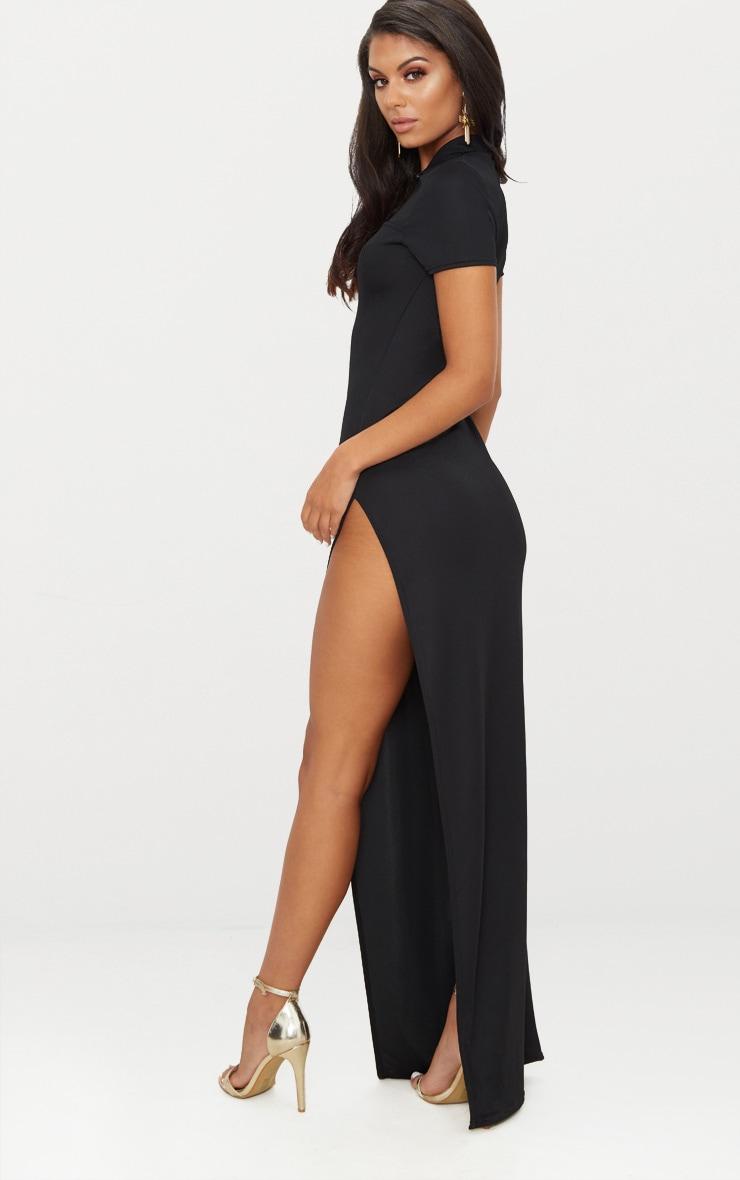 Black Oriental Cut Out Detail Maxi Dress 2