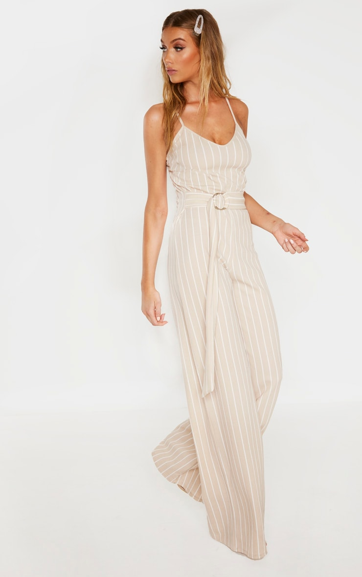 Tall Stone Pinstripe O-Ring Belt Jumpsuit 4