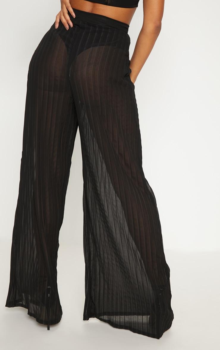 Black Sheer Pleated Wide Leg Trouser 4