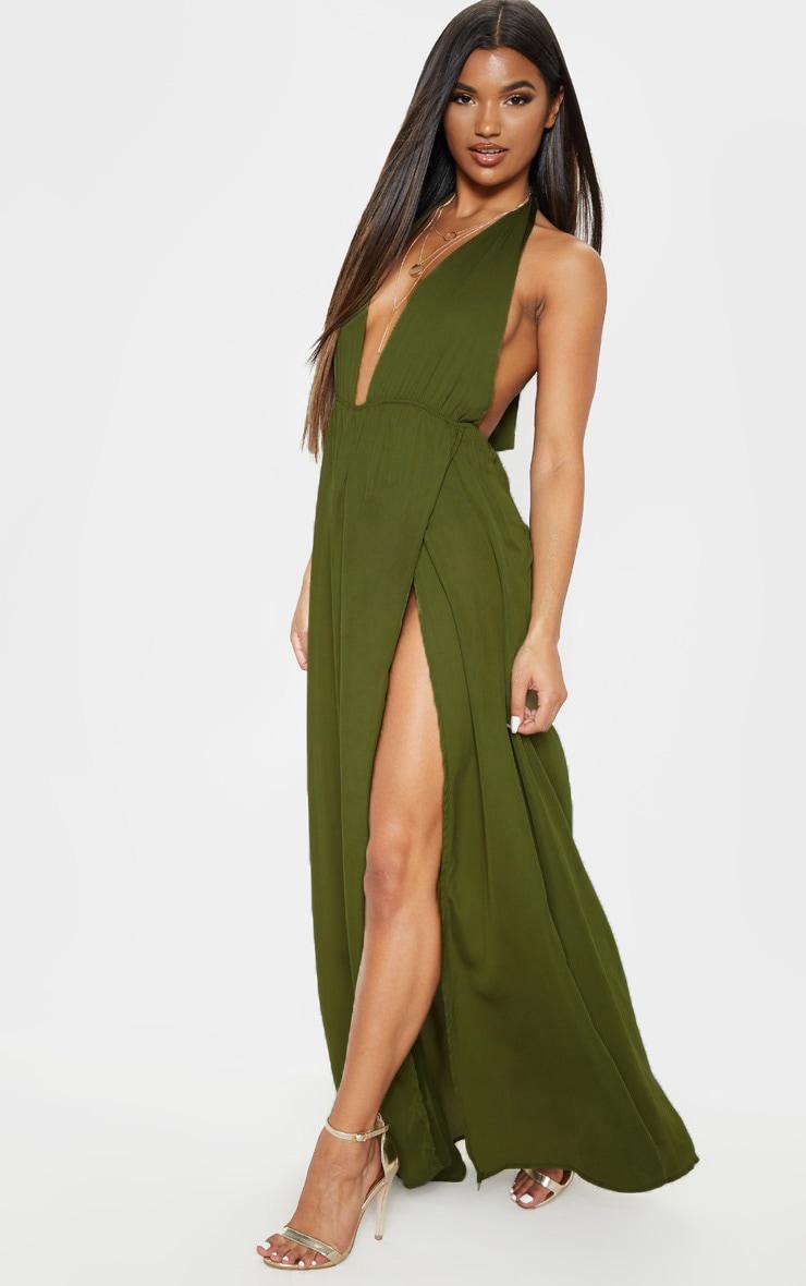 Alina Khaki Plunge Maxi Dress 1