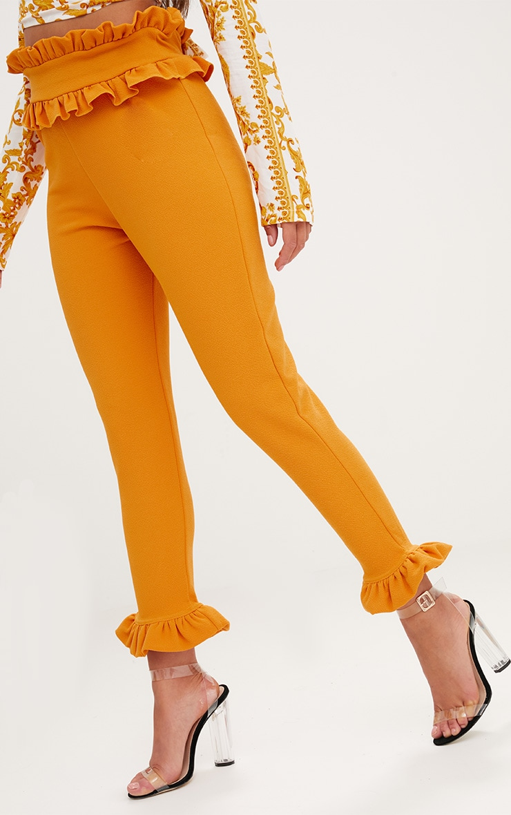 Mustard Frill Trim Trousers 5