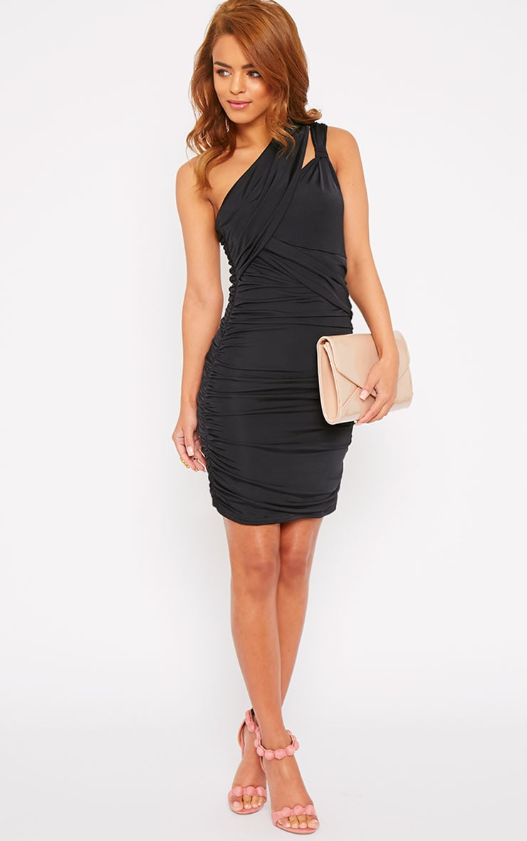 Skye Black Slinky Gathered One Shoulder Dress 2