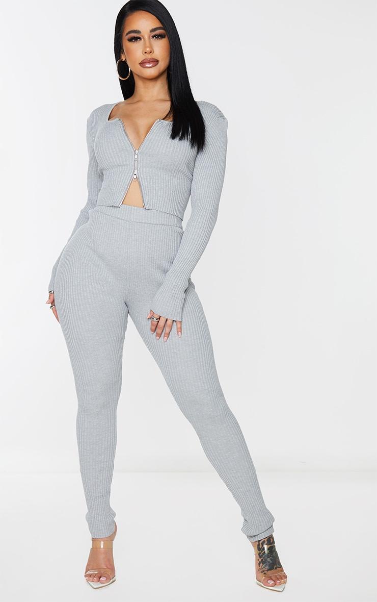 Shape Grey Soft Knit Rib Zip Front Crop Top 3