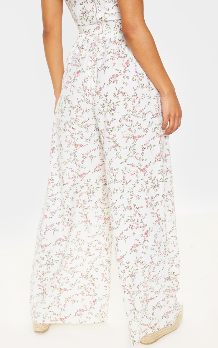 White Ditsy Floral Wide Leg Pants 4