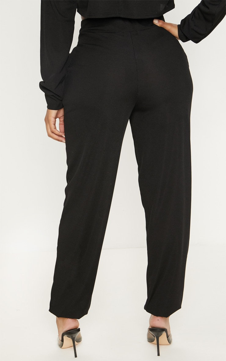 Shape Black Ribbed Cuff Detail Track Pants 4