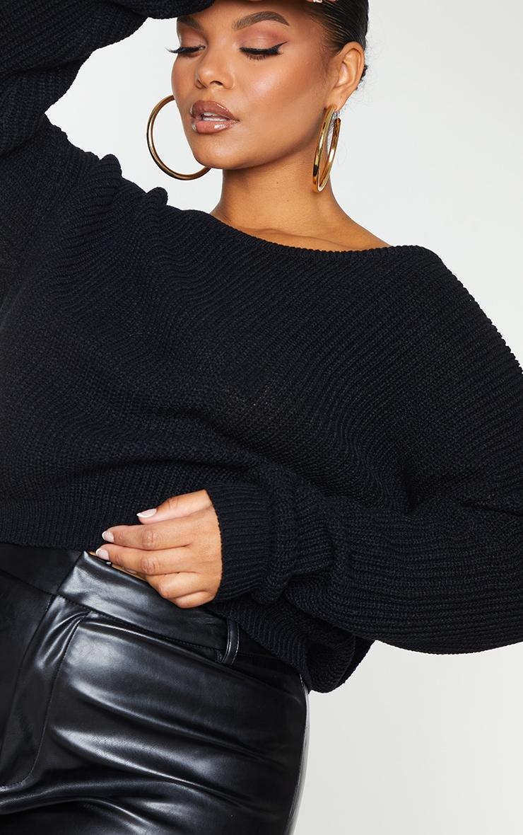 Plus Black Knitted Slash Neck Crop Sweater 4