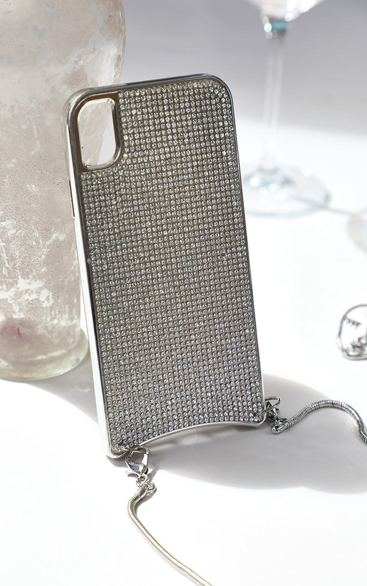 Diamante Iphone 11 Case With Silver Chain 2
