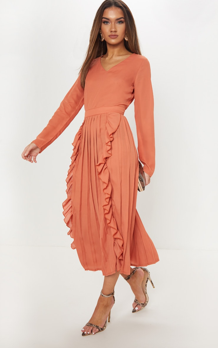 38a10559ce9 rust-long-sleeve-frill-detail-pleated-skater-midi-
