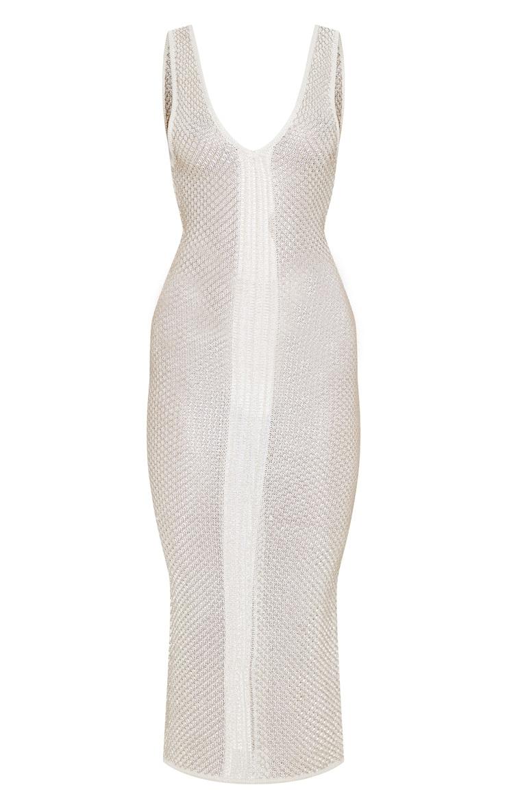 Cream Metallic Knit Bodycon Midi Dress  3