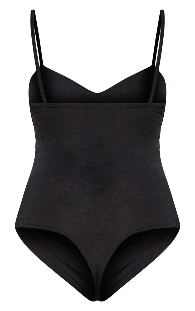 Black Slinky Strappy Ruched Bodysuit 6