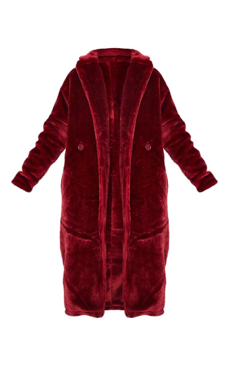 Burgundy Large Lapel Midaxi Faux Fur Coat 3