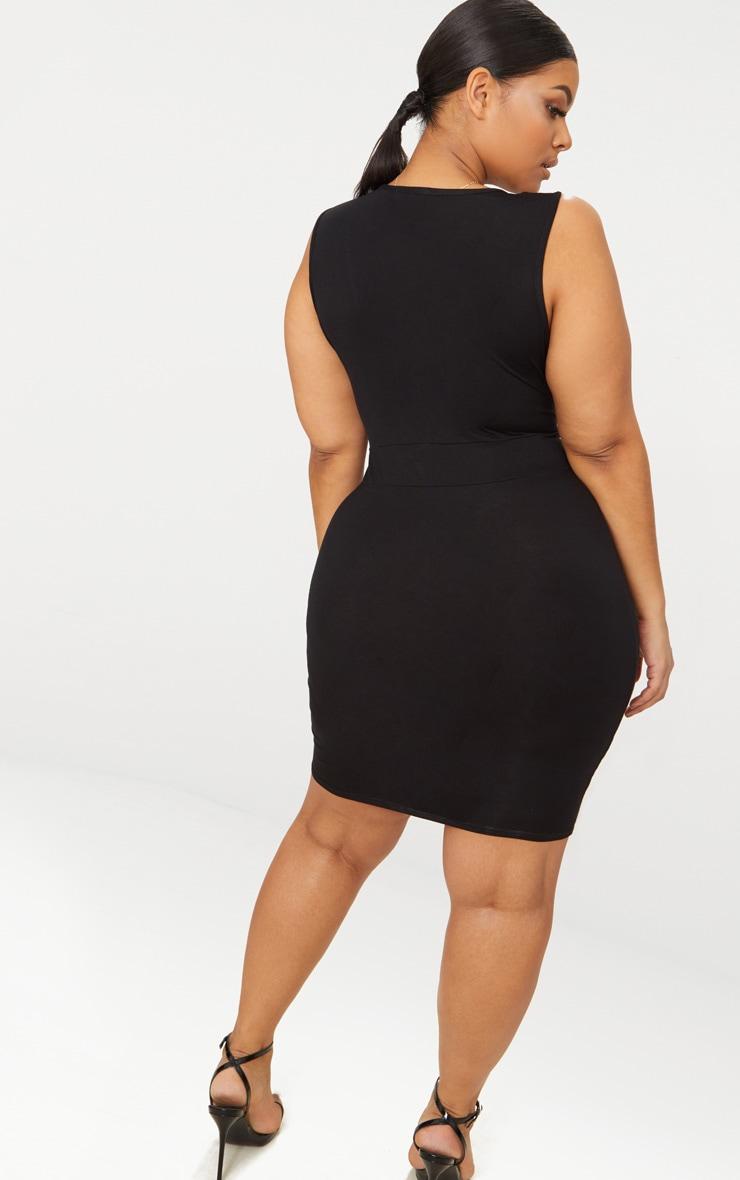 Plus Black Jersey Plunge Bodycon Dress 2