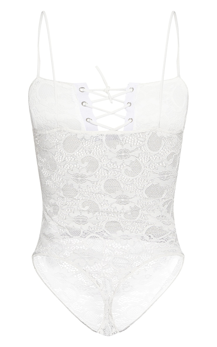 Shape White Eyelet Detail Lace Bodysuit 4