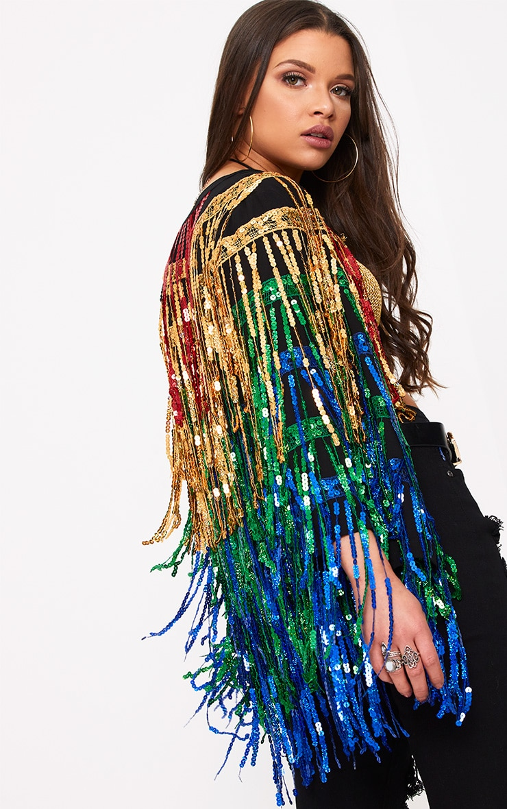 Ellie Multi Coloured Sequin Fringed Jacket  1