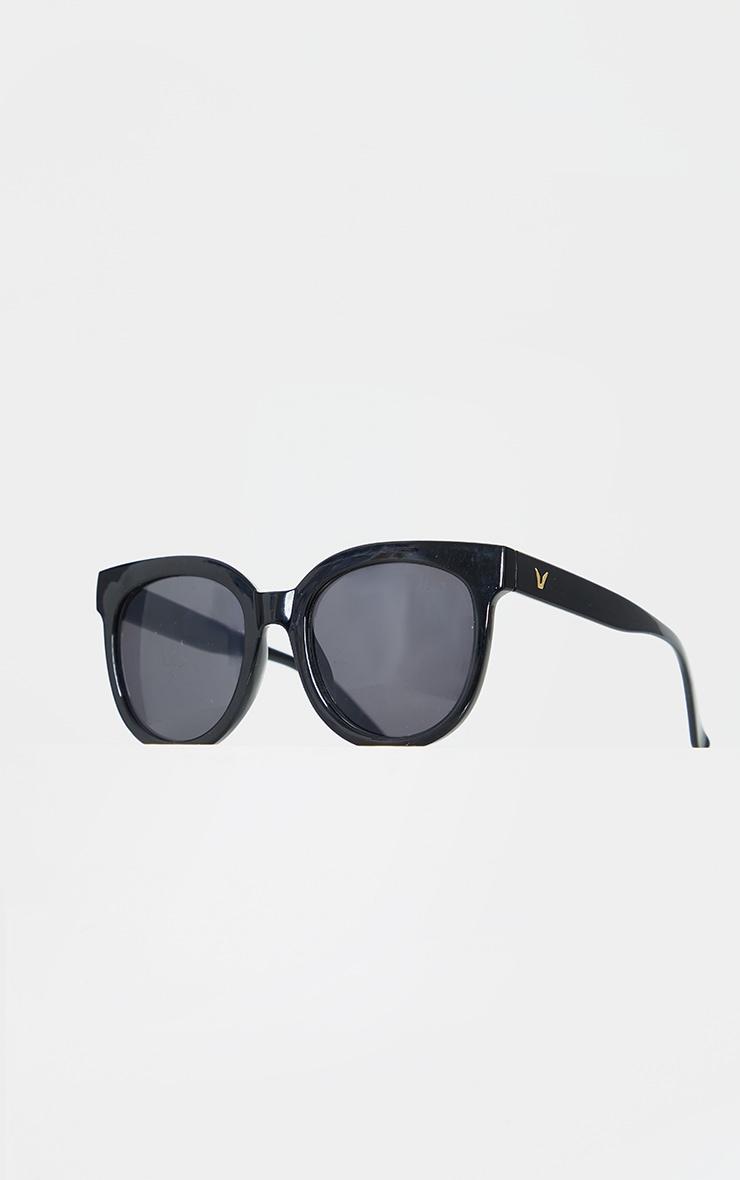 Black Glossy Round Sunglasses 2