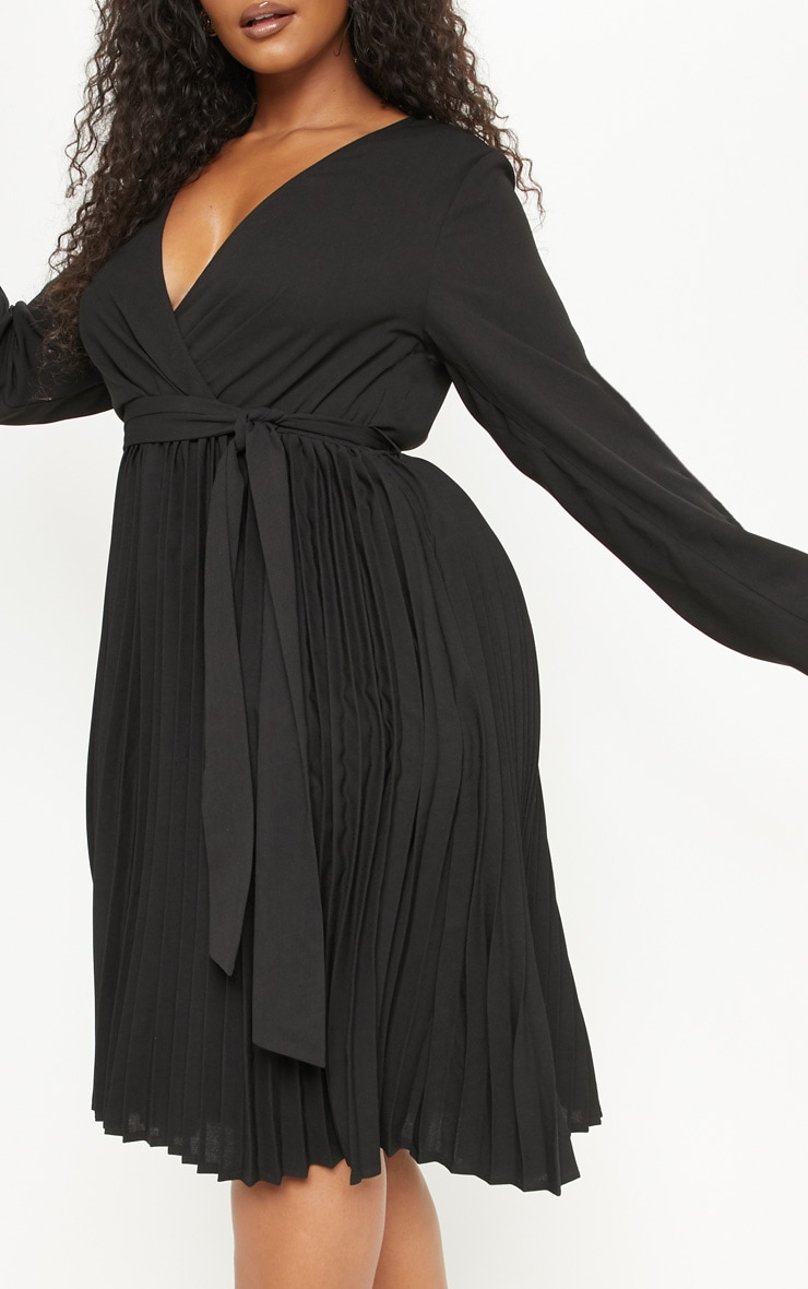 Plus Black Long Sleeve Pleated Midi Dress 5
