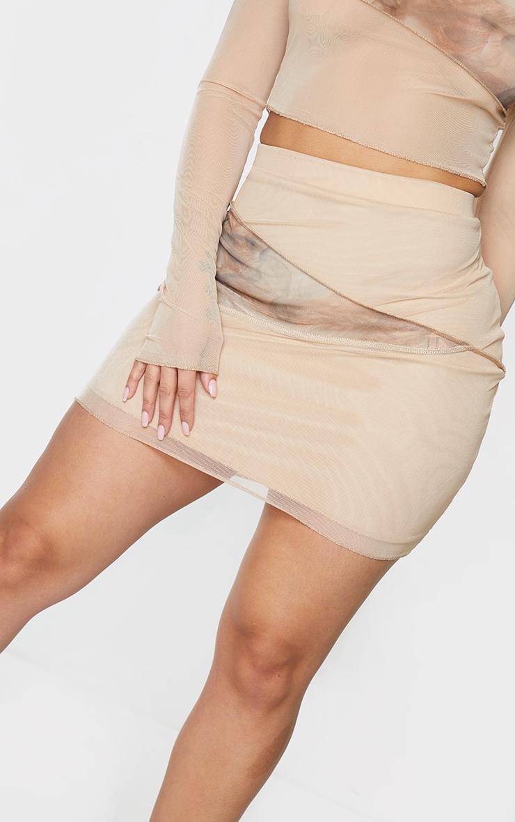 Shape Stone Smoke Print Mesh Panel Detail Bodycon Skirt 5