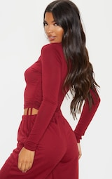 Scarlet Jersey Ruched Side Long Sleeve Crop Top 2