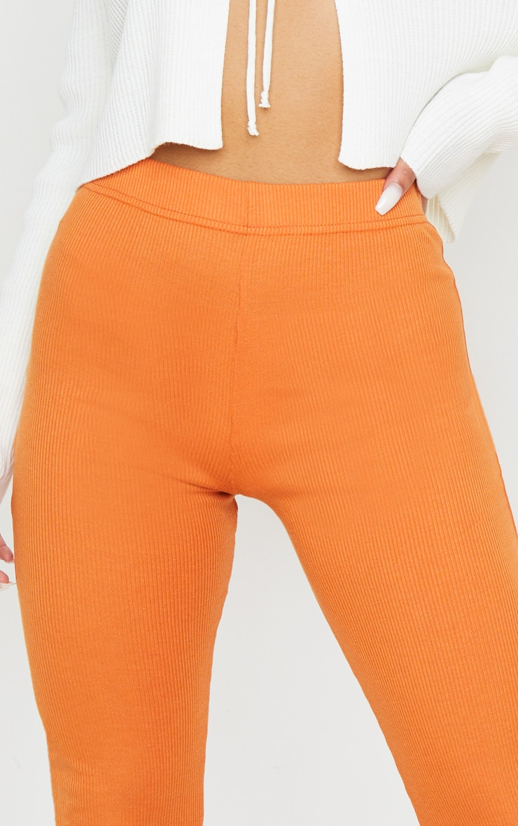 Burnt Orange Ribbed Flared Pants 5