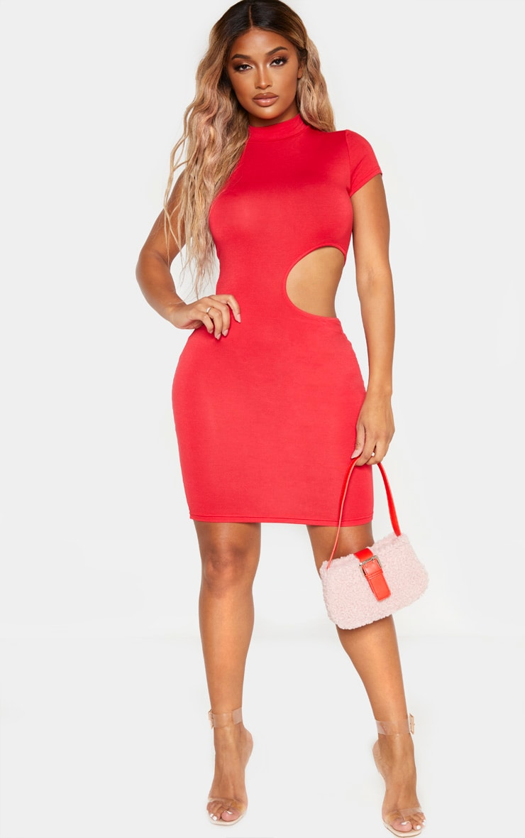 Shape Red Jersey Cut Out Side High Neck Bodycon Dress 4