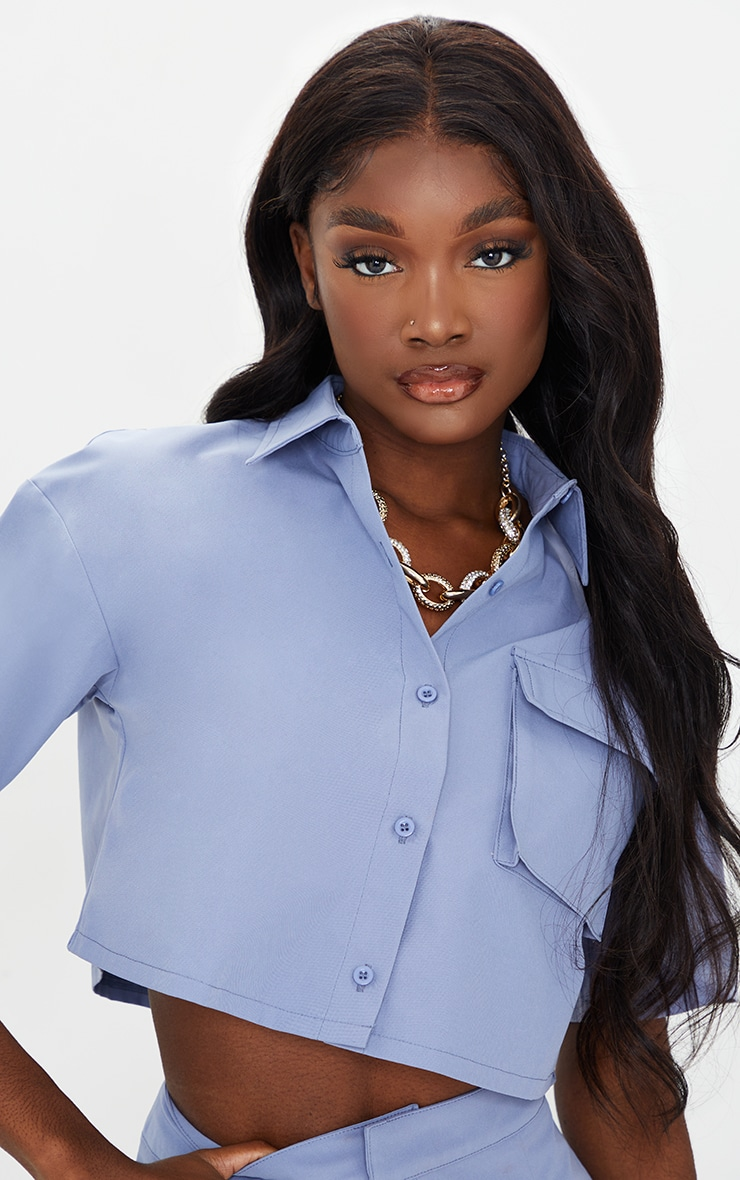 Tall Steel Blue Cropped Contrast Stitch Shirt 4