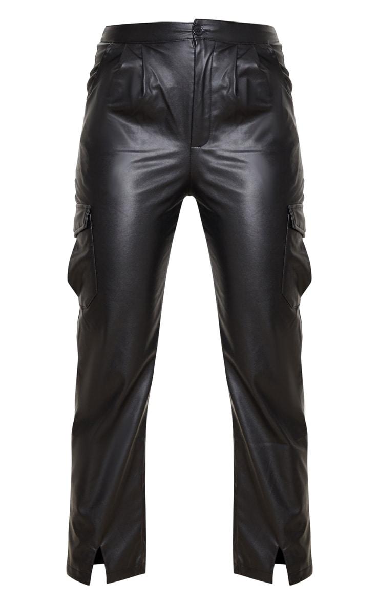 Black Faux Leather Hem Detail Straight Leg Pants 5