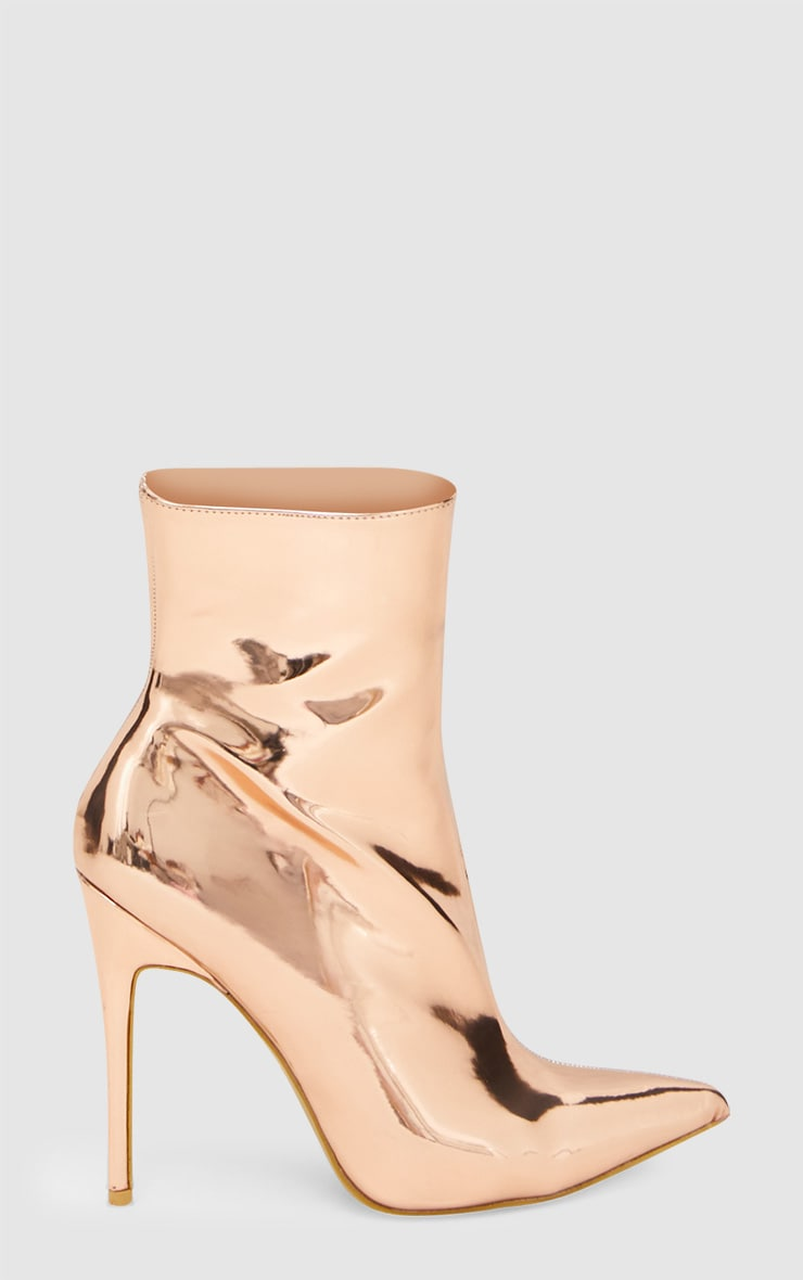 Rose Gold Metallic Heeled Ankle Boot 3