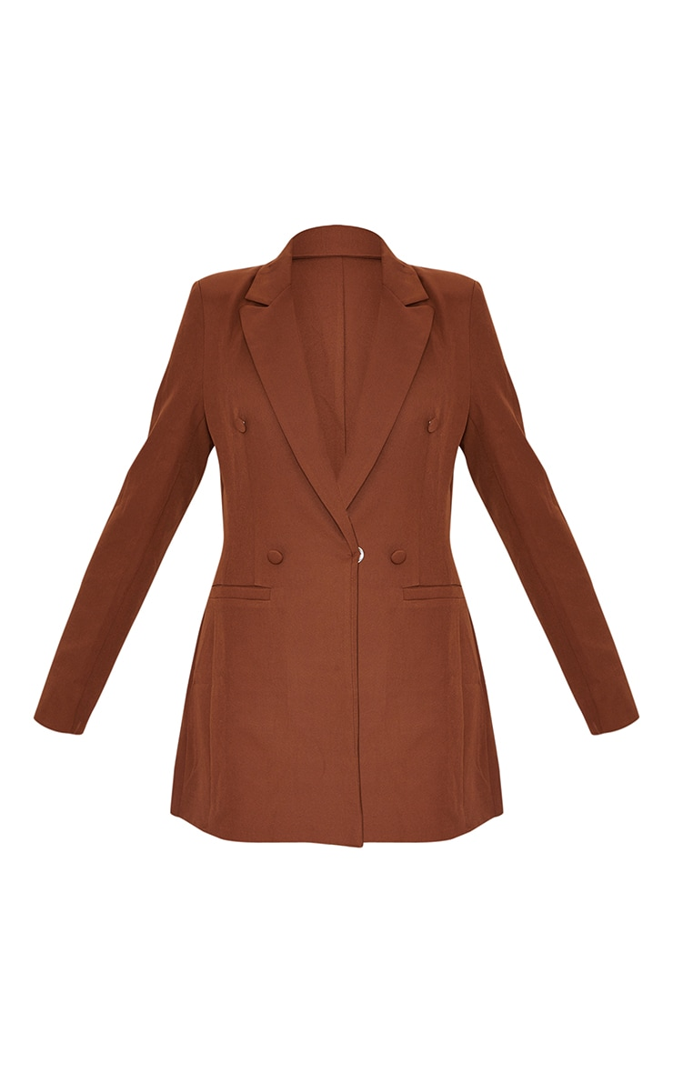 Chocolate Brown Double Breasted Woven Blazer 5