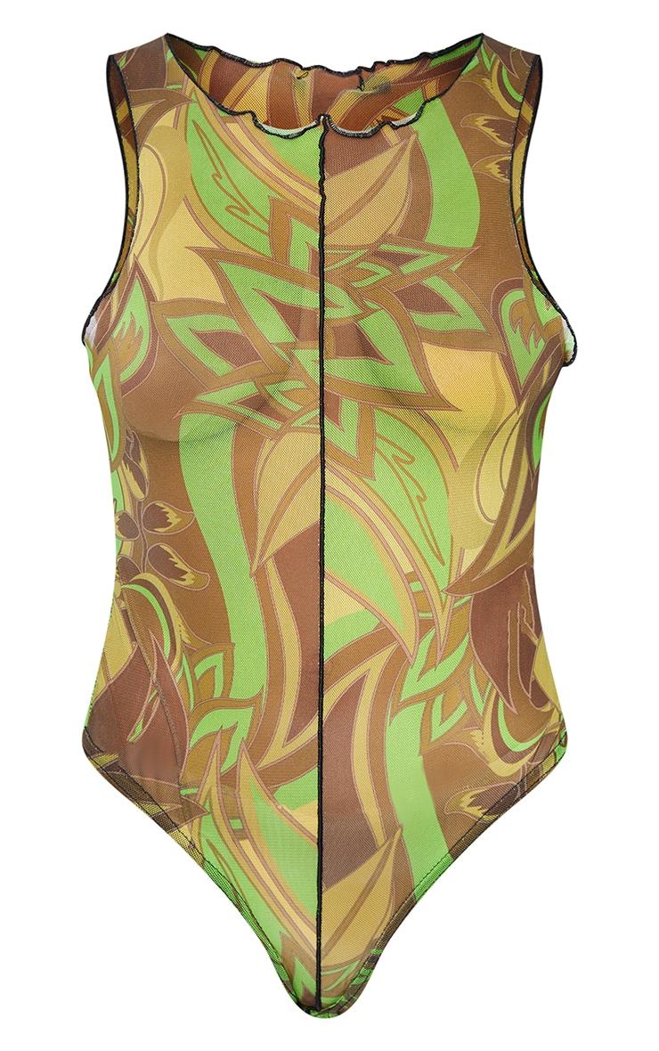 Lime Floral Print Mesh Seam Detail Racer Bodysuit 5