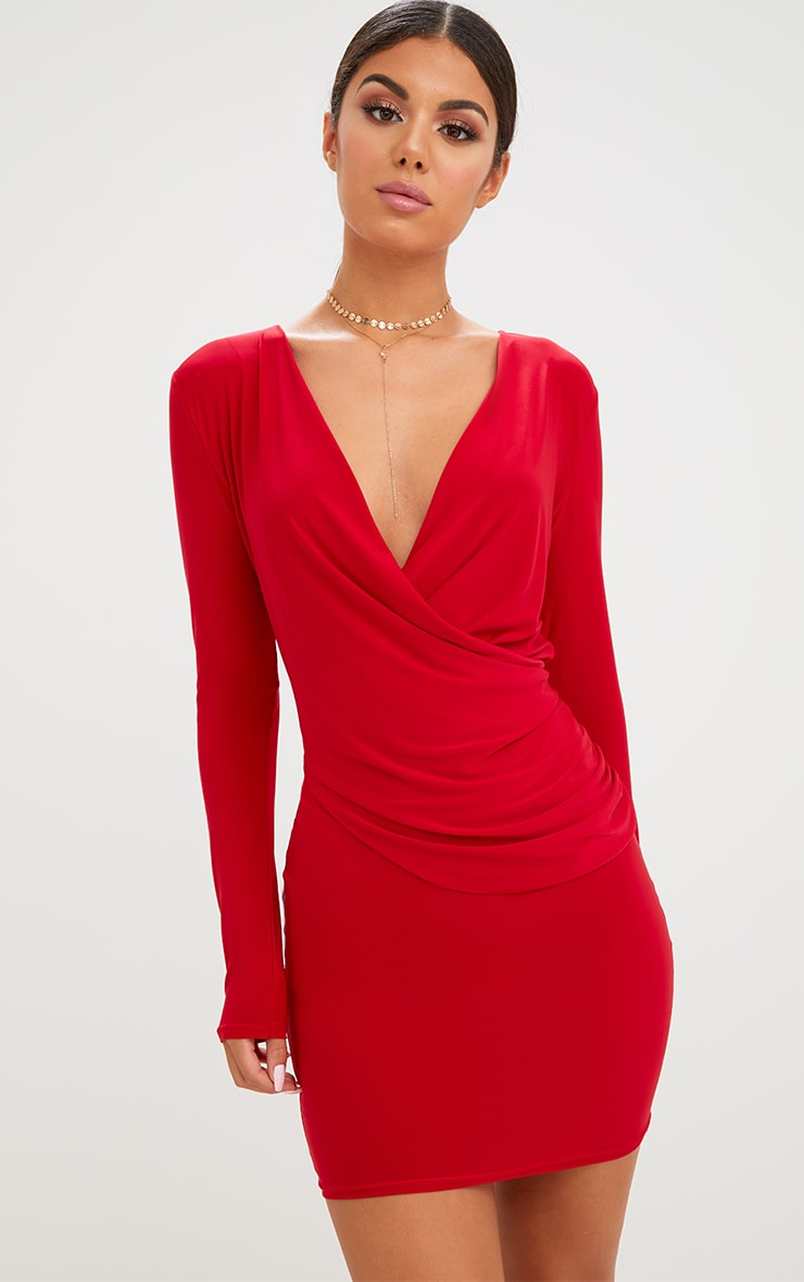 Red Slinky Ruched Wrap Over Bodycon Dress 1