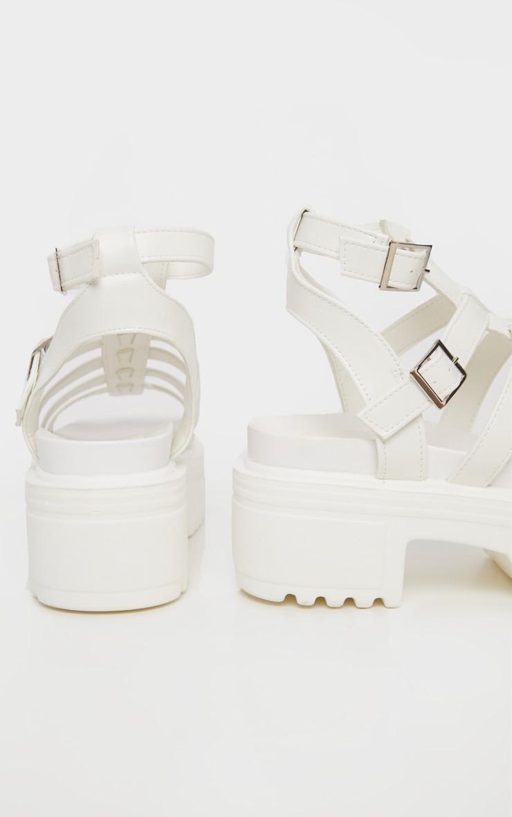 White Gladiator Chunky Sandal 4
