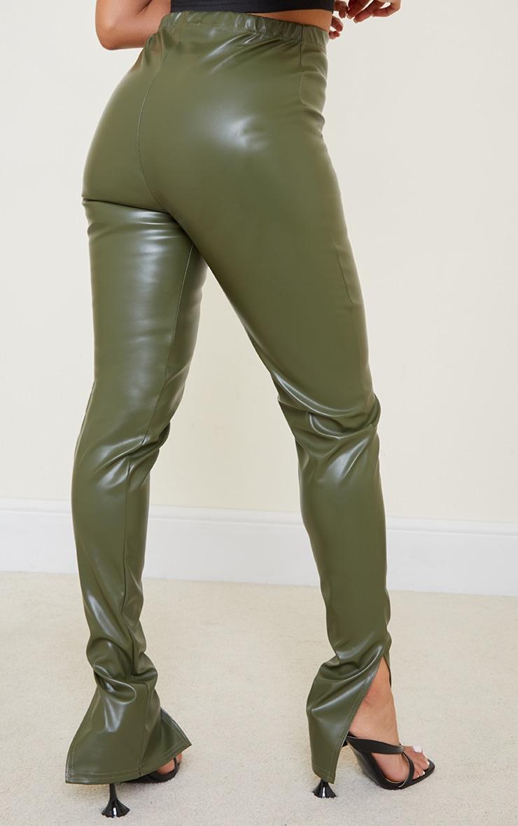 Petite Khaki Faux Leather Split Hem Leggings 3