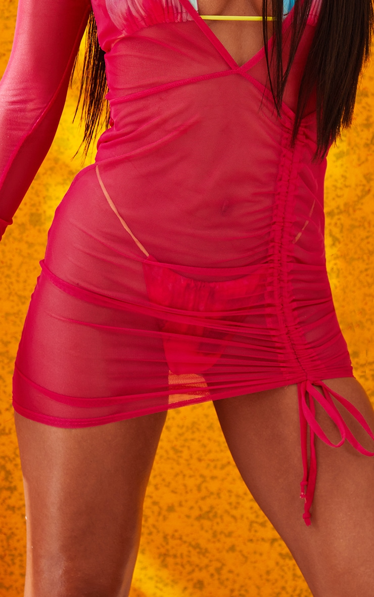 Hot Pink Mesh Ruched Plunge Beach Dress 5