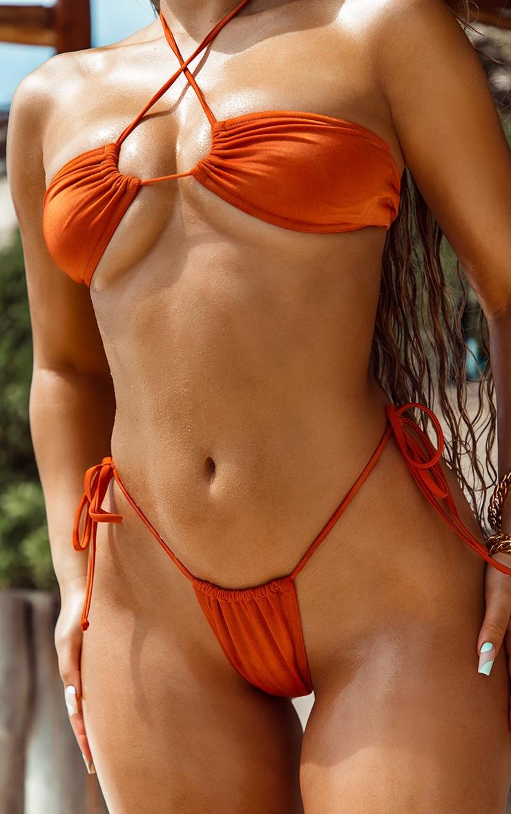 Orange Tie Back Adjustable Mini Bikini Top 4
