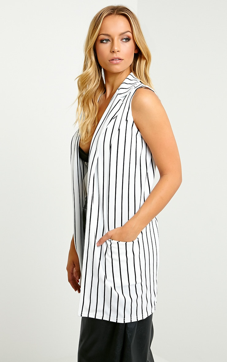 Jakoba Cream Pinstripe Sleeveless Jacket 4