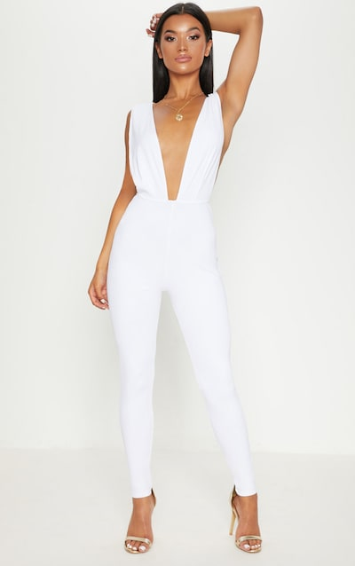 cd685365f1a White Bandage Plunge Jumpsuit