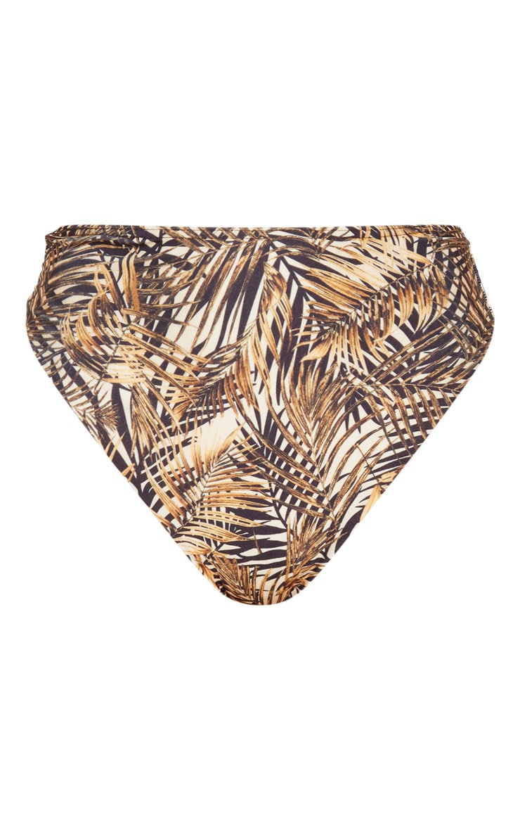 Brown Leaf High Waist High Leg Bikini Bottom 7